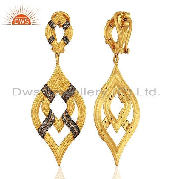 Suppliers Gold Plated Pave Diamond Silver Wedding Earrings Jewelry Manufacture