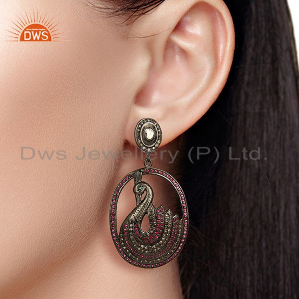 Suppliers Traditional Pave Diamond 925 Silver Earrings Jewelry Manufacturer