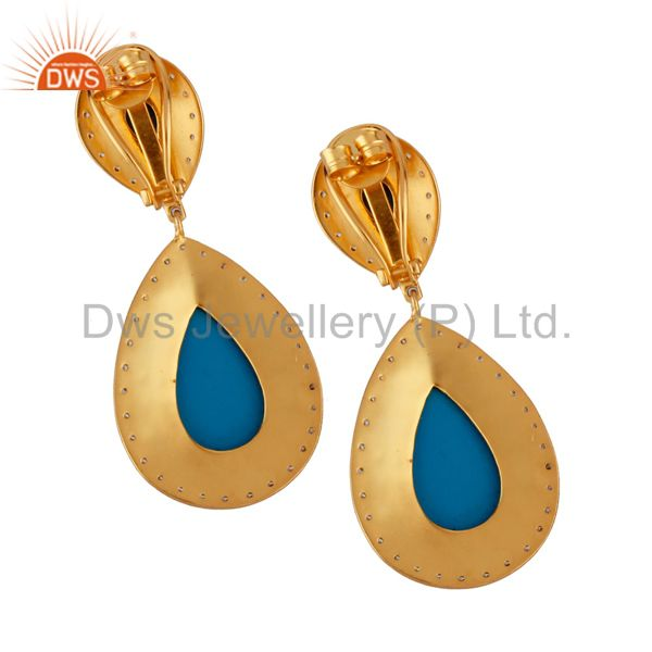 Suppliers 14K Yellow Gold Plated Brass Turquoise And CZ Bridal Fashion Drop Earrings