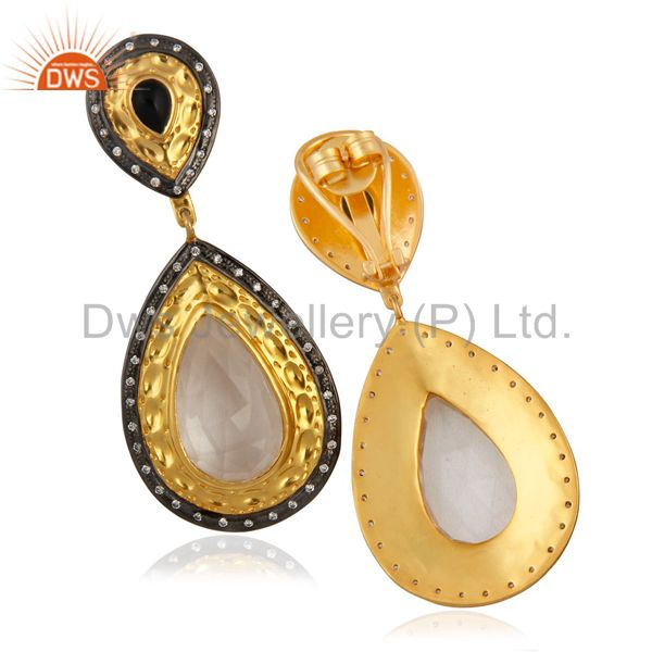 Suppliers 14K Yellow Gold Plated Brass Crystal Quartz And CZ Designer Dangle Earrings