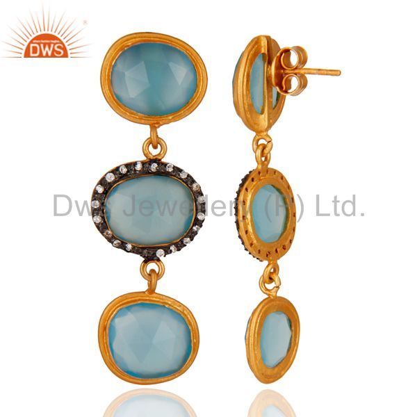 Suppliers 925 Sterling Silver Blue Chalcedony Gemstone 18K Yellow Gold Plated Earring