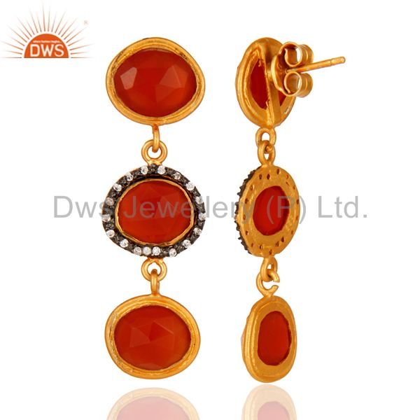 Suppliers 925 Sterling Silver Carnelian Gemstone Dangle Earrings With Yellow Gold Plated