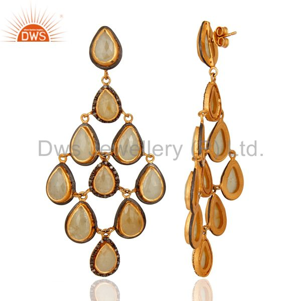 Suppliers Blue Sapphire Gemstone Pave Diamond Chandelier 18K Gold Over 925 Silver Earrings