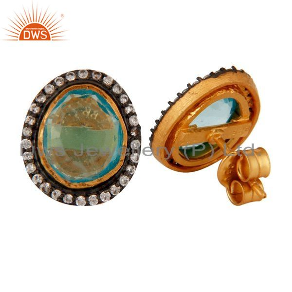 Suppliers Attractive!! Synthetic Blue Topaz Gemstone Gold Plated 925 Silver Stud Earrings