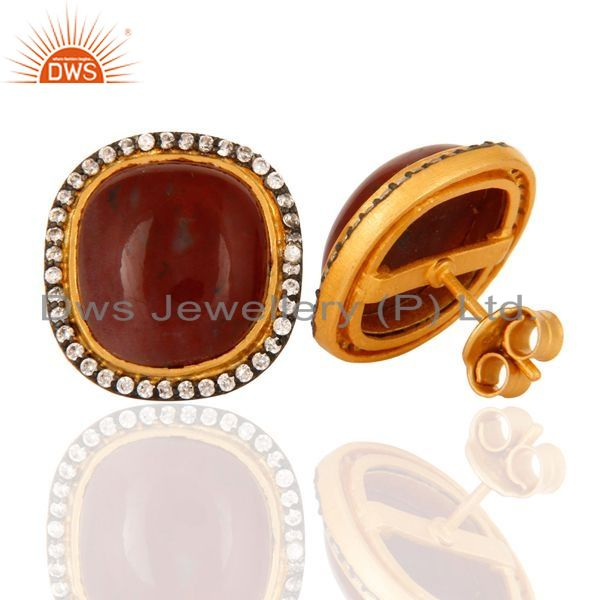 Suppliers Sterling Silver With GoldPlated Natural Red Agate Gemstone Stud Earrings With CZ