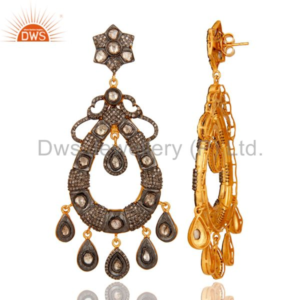 Suppliers Designer Rose Cut Diamond Vintage Style Sterling Silver Chandelier Earrings