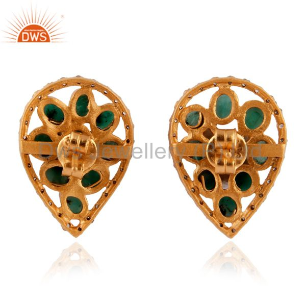 Suppliers 18K Gold GP 925 Sterling Silver Emerald Pave Setting Diamond Stud Earring Jewelr
