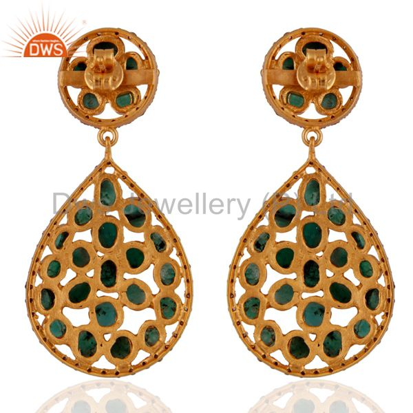 Suppliers Handmade 18k Gold-Plated 925 Silver Pave Set Diamond Rough-Cut Emerald Earrings