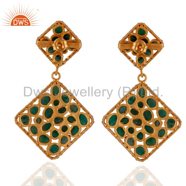 Suppliers Sterling SIlver Emerald Gemstone Slice Pave Diamond Dangle Earrings 18K Gold GP