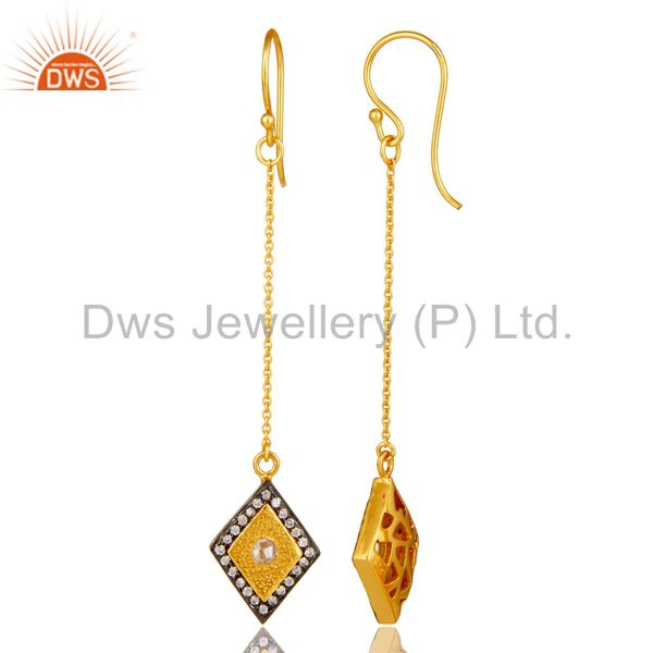 Suppliers 14K Yellow Gold Plated Sterling Silver Cubic Zirconia Chain Dangle Earrings