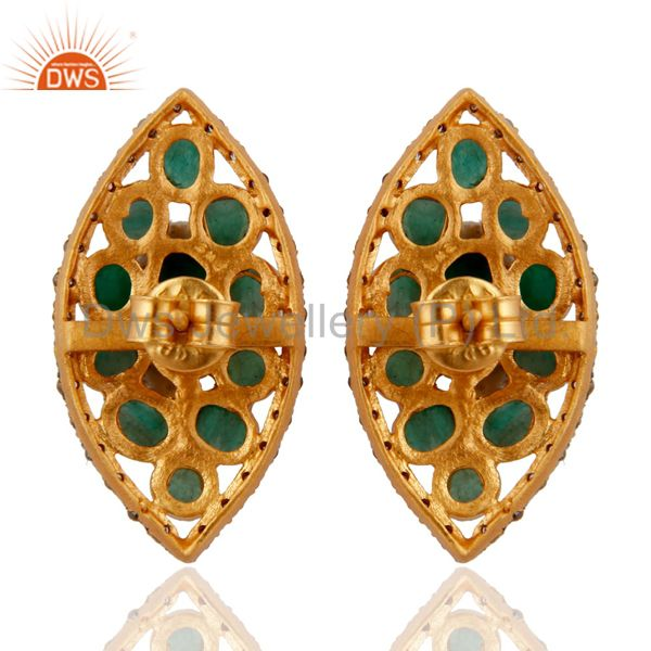 Suppliers 925 Sterling Silver Pave Diamond Natural Emerald Raw Gemstone Post Stud Earrings