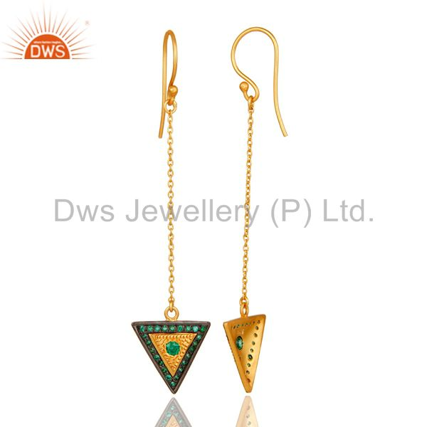 Suppliers 18K Gold Plated 925 Sterling Silver Handmade Green Zirconia Link Chain Earrings
