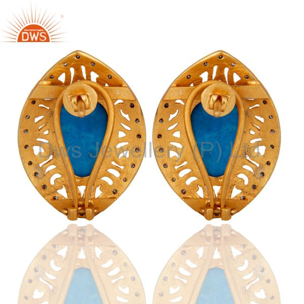 Suppliers Victorian Style Pave Diamond 925 Sterling Silver Turquoise Gemstone Stud Earring