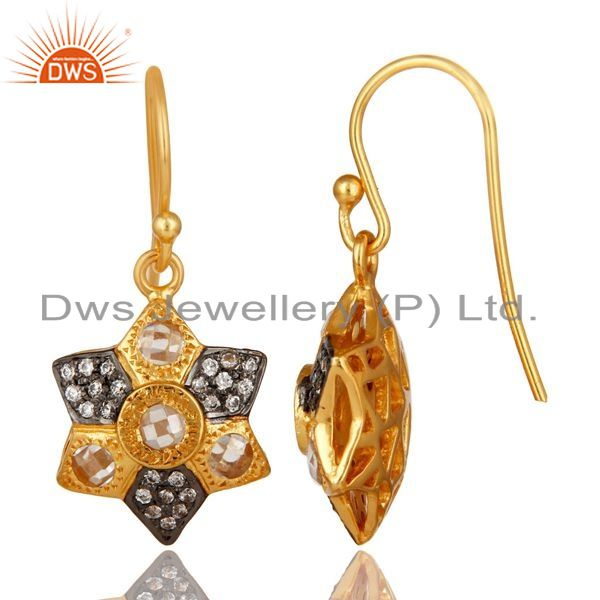 Suppliers 14K Yellow Gold Plated Sterling Silver Cubic Zirconia Designer Drop Earrings