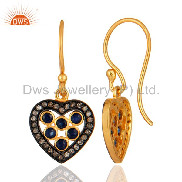 Blue Sapphire Gemstone Pave Diamond 925 Sterling Silver Heart Design Earrings From Jaipur India