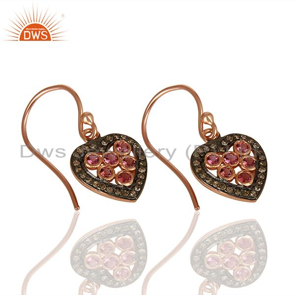 Suppliers Heart Design 925 Silver Pave Diamond Gift for Her Earrings Wholesale
