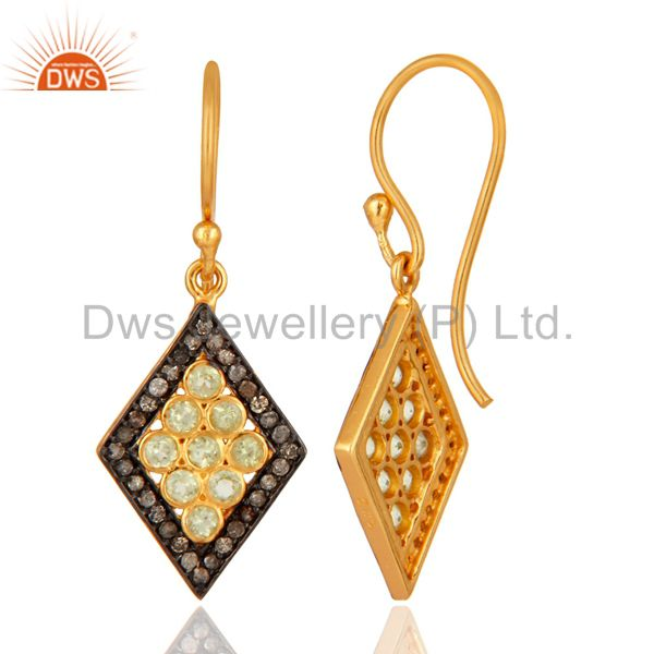 18K Gold Plated 925 Sterling Silver Pave Diamond & Peridot Gemstone Earring From Jaipur India