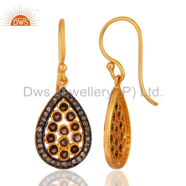 Suppliers Designer 925 Sterling Silver Smoky Quartz Pave Diamond Drop Earring