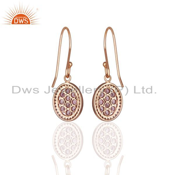 Suppliers Pave Diamond and Pink Tourmailne Gemstone Drop Earrings Manufacturer