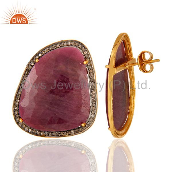 Suppliers Ruby Pave Diamond 18K Gold Over 925 Sterling Silver Stud Earring New Arrival