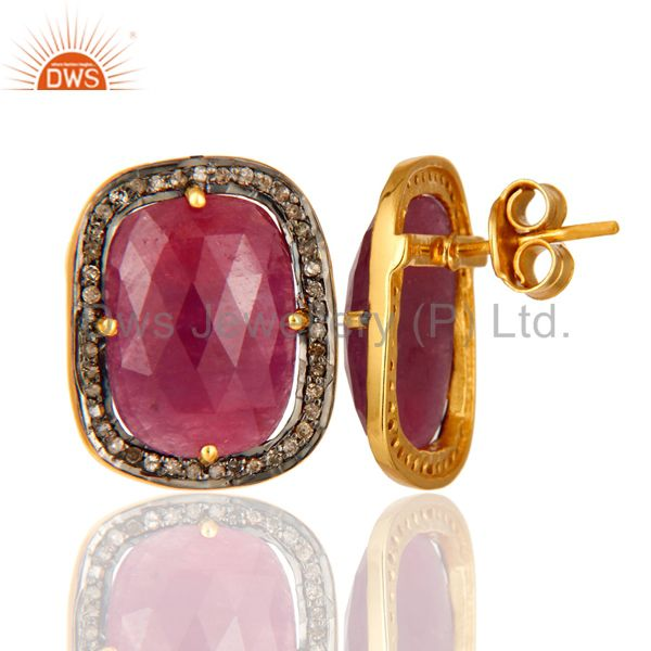 Suppliers Pave Set Diamond Ruby Gemstone Stud Earring In 18K Gold Over Sterling Silver 925