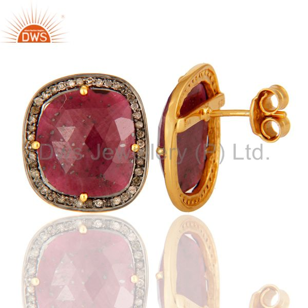 Suppliers 925 Sterling Silver Ruby Gemstone Stud Earring With Pave Set Diamond Jewelry