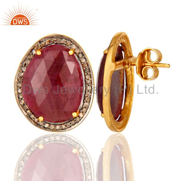 Suppliers Unique Genuine Ruby Gemstone 925 Sterling Silver Diamond Accent Stud Earrings