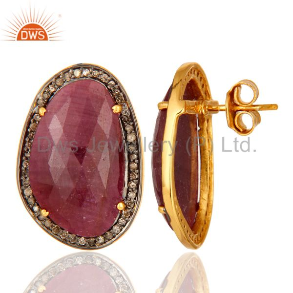 Suppliers Natural Ruby Earrings 0.538 ct Diamonds Pave Set Sterling Silver Studs Earrings