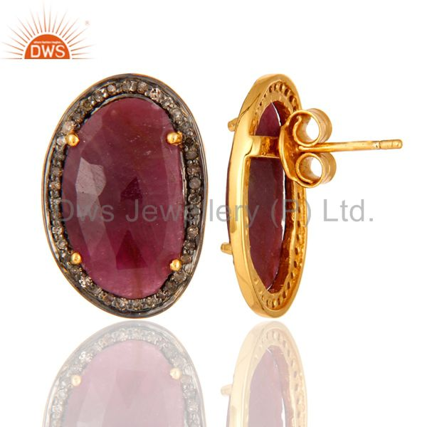 Natural Ruby Gemstone 925 Sterling Silver Mens Diamond Cufflinks - Gold Plated From Jaipur India