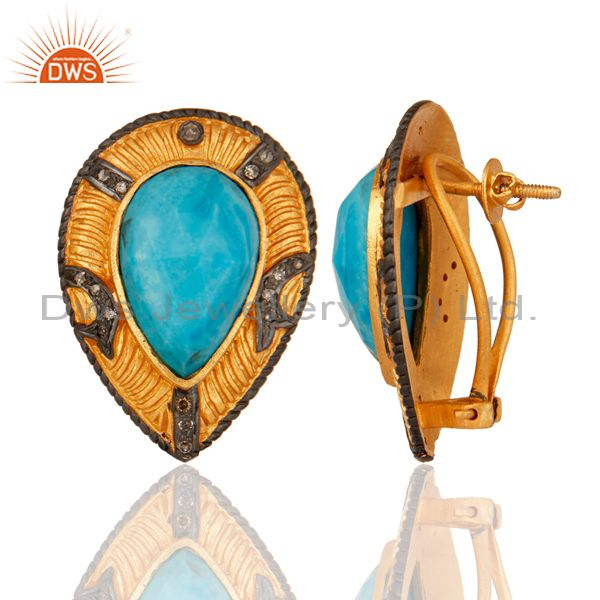 Suppliers Turquoise Gemstone 925 Sterling Silver Pave Diamond Stud Earrings - Gold Plated