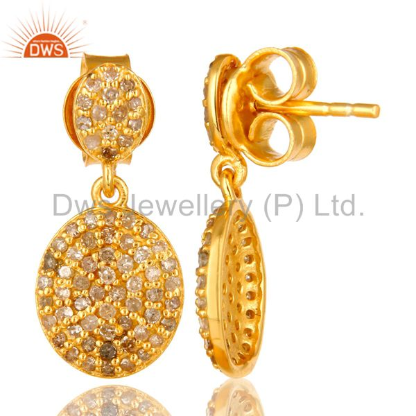 Suppliers 14K Yellow Gold Sterling Silver Pave Set Diamond Drop Dangle Earrings