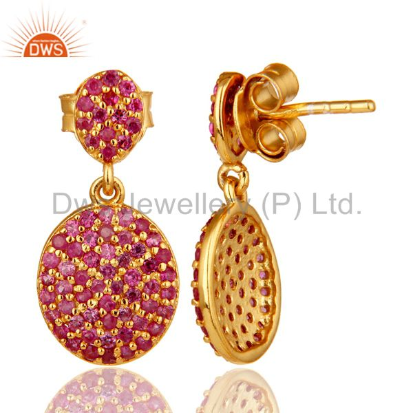 Suppliers 14K Yellow Gold Sterling Silver Pave Set Ruby Drop Dangle Earrings