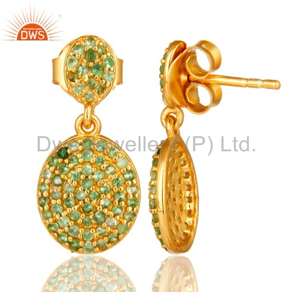 Suppliers 18K Yellow Gold Plated Sterling Silver Tsavorite Gemstone Cluster Dangle Earring
