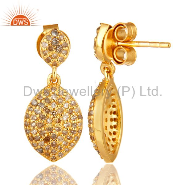 Suppliers 18K Yellow Gold Over Sterling Silver Pave Set Diamond Drop Earrings
