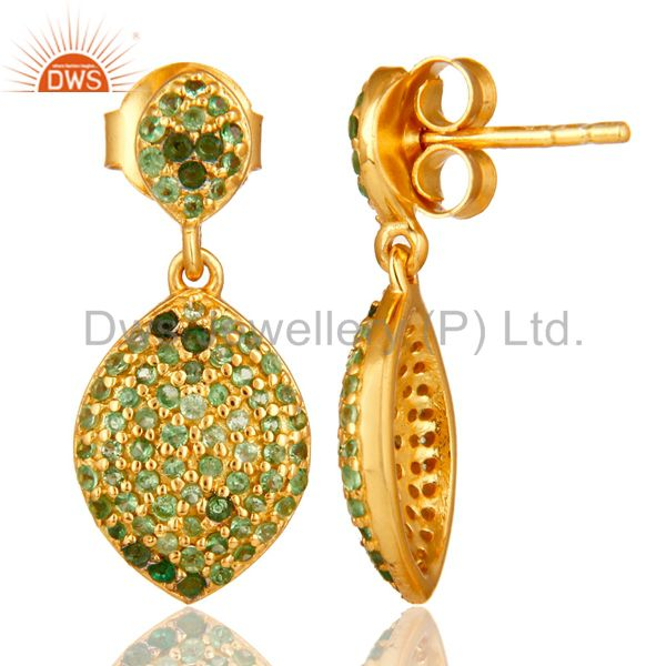 Suppliers 14K Yellow Gold Plated Sterling Silver Pave Set Tsavorite Teardrop Earrings