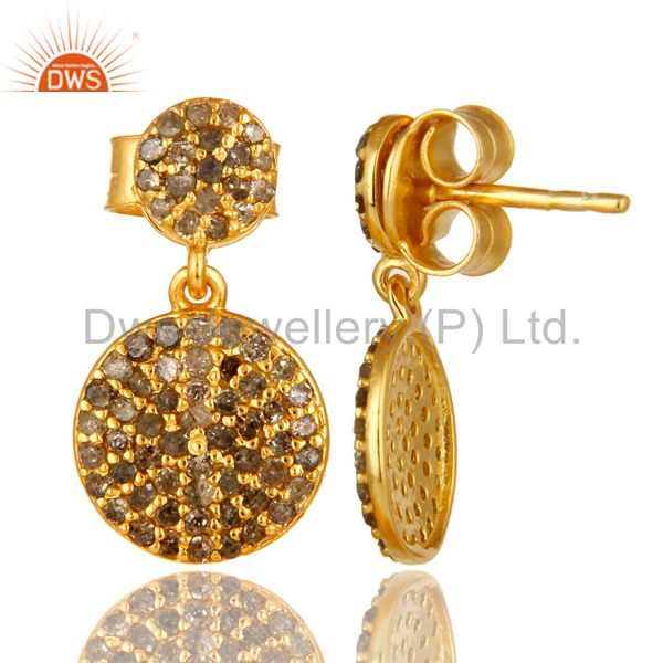 Suppliers 14K Yellow Gold Sterling Silver Pave Set Diamond Disc Dangle Earrings