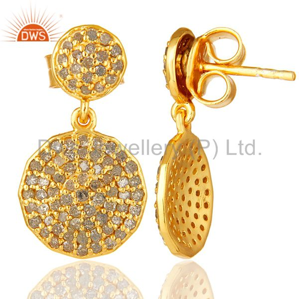 Suppliers Pave Set Diamond Disc Dangle Earrings Made In 14K Yellow Gold On Sterling Silver