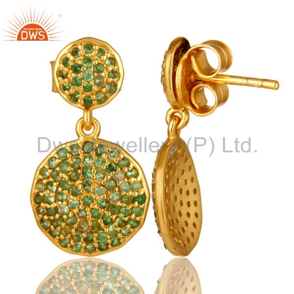 Suppliers 14K Yellow Gold And Sterling Silver Pave Set Tsavorite Disc Dangle Earrings