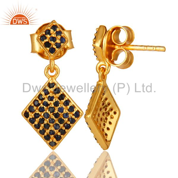 Suppliers Pave Set Blue Sapphire Sterling Silver Drop Earrings With 14K Yellow Gold Plated