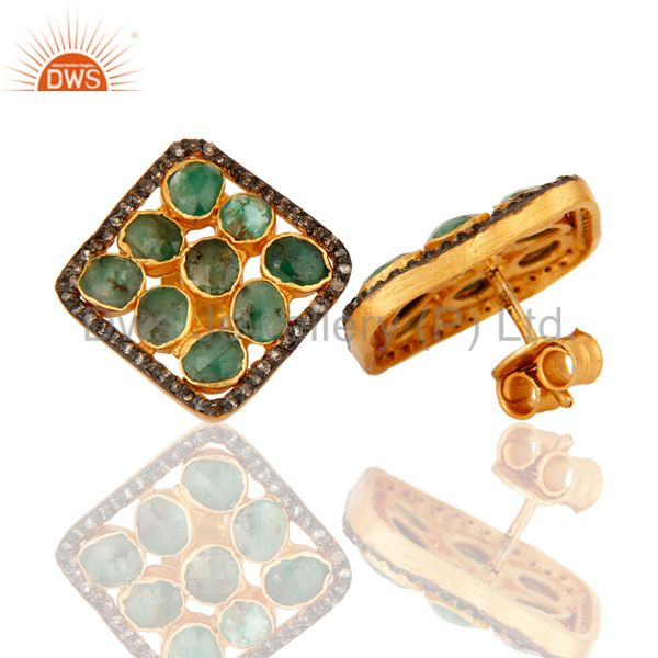 Suppliers Natural Emerald And Pave Set Diamond 925 Sterling Silver Cushion Stud Earrings