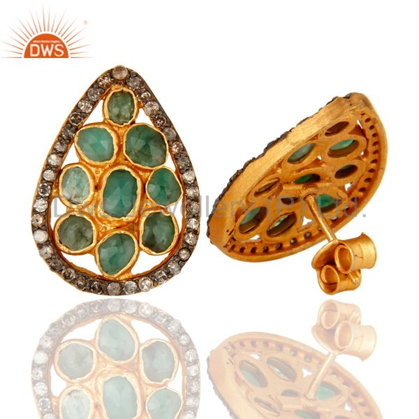 Suppliers Natural Emerald Pave Diamond Stud Earrings In 18K Gold Over Sterling Silver