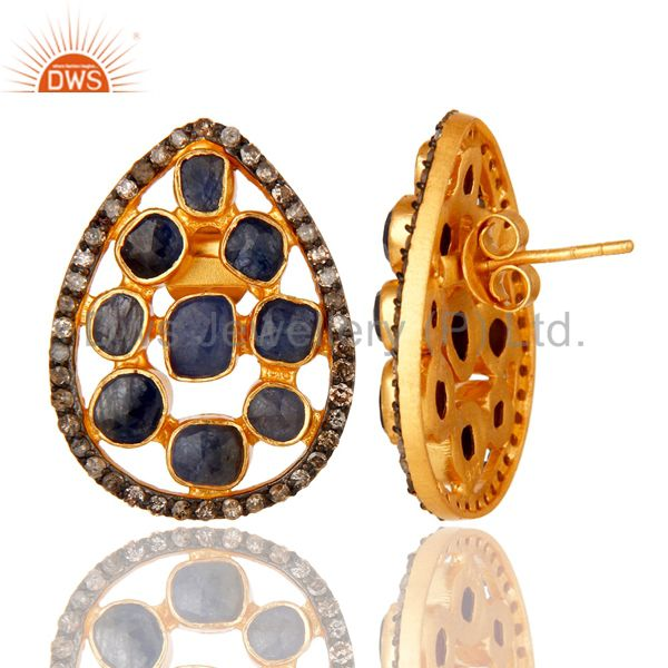 Suppliers Natural Blue Sapphire Pave Diamond Stud Earrings 18K Gold Over Sterling Silver