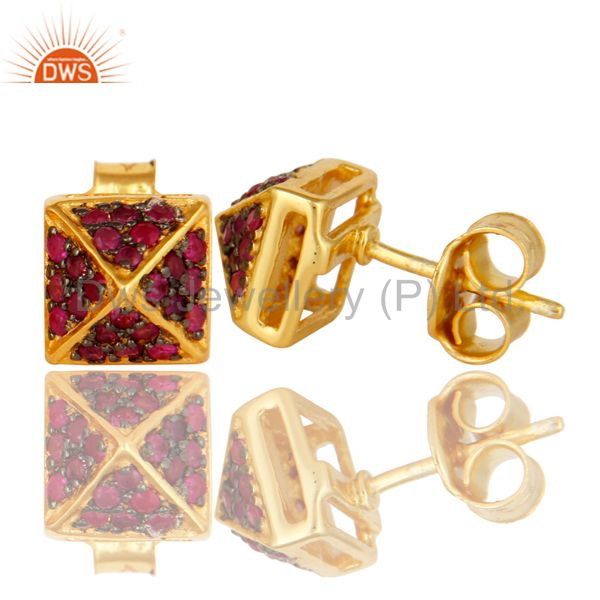 Suppliers Ladies Pave Set Ruby Gemstone Stud Earrings Made In 18K Gold Over Silver