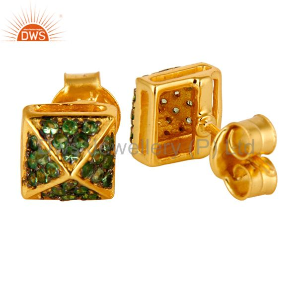 Suppliers 14K Yellow Gold Plated Sterling Silver Pave Set Tsavorite Womens Stud Earrings