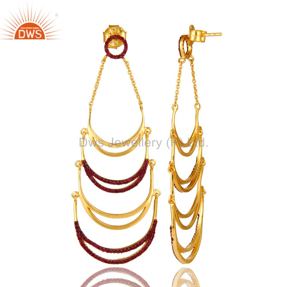 Suppliers Designer 14K Yellow Gold Plated Sterling Silver Ruby Gemstone Dangle Earrings