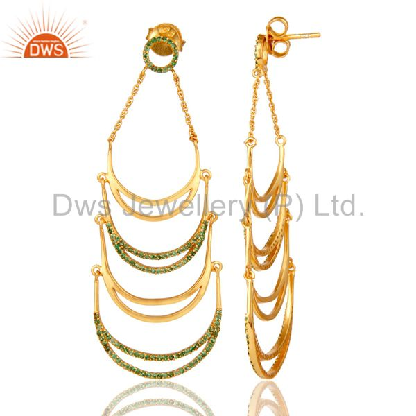 Suppliers 14K Yellow Gold Plated Sterling Silver Tsavourite Designer Dangle Earrings