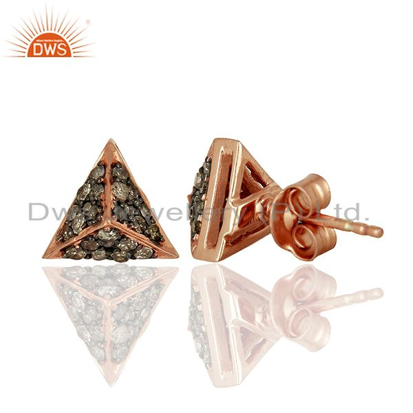 Suppliers Wholesale Rose Gold Plated Pave Diamond Stud Earrings Jewelry Supplier