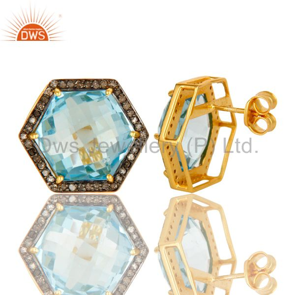 Suppliers Blue Topaz And Pave Set Diamond Hexagon Stud Earrings Made In 18K Gold On Silver