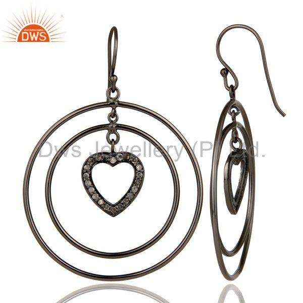 Suppliers Oxidized Sterling Silver Pave Set Diamond Heart Design Circle Dangle Earrings