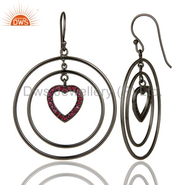 Suppliers Oxidized Sterling Silver Pave Set Ruby Heart Design Multi Circle Dangle Earrings